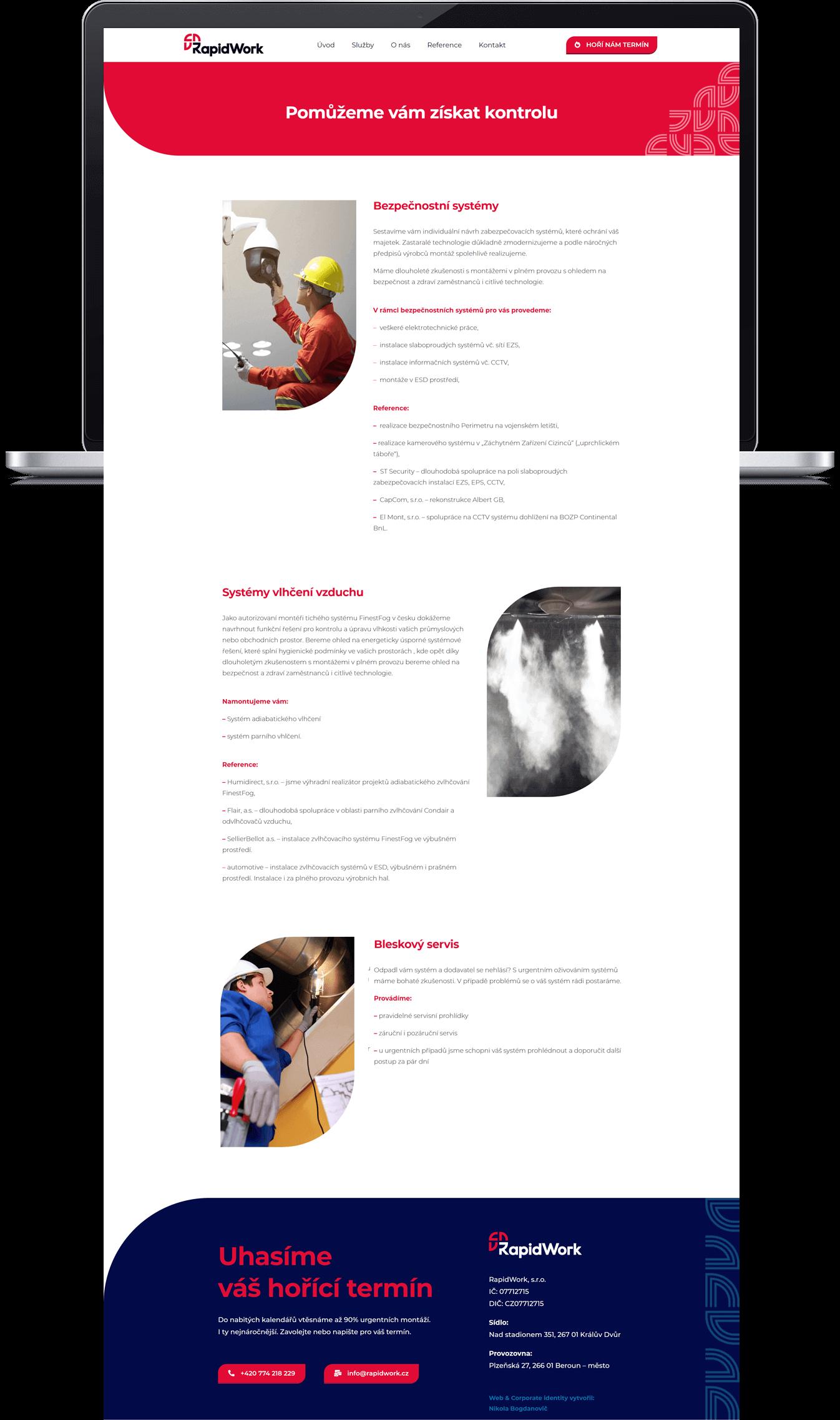 Rapidwork design podstránky webu služeb