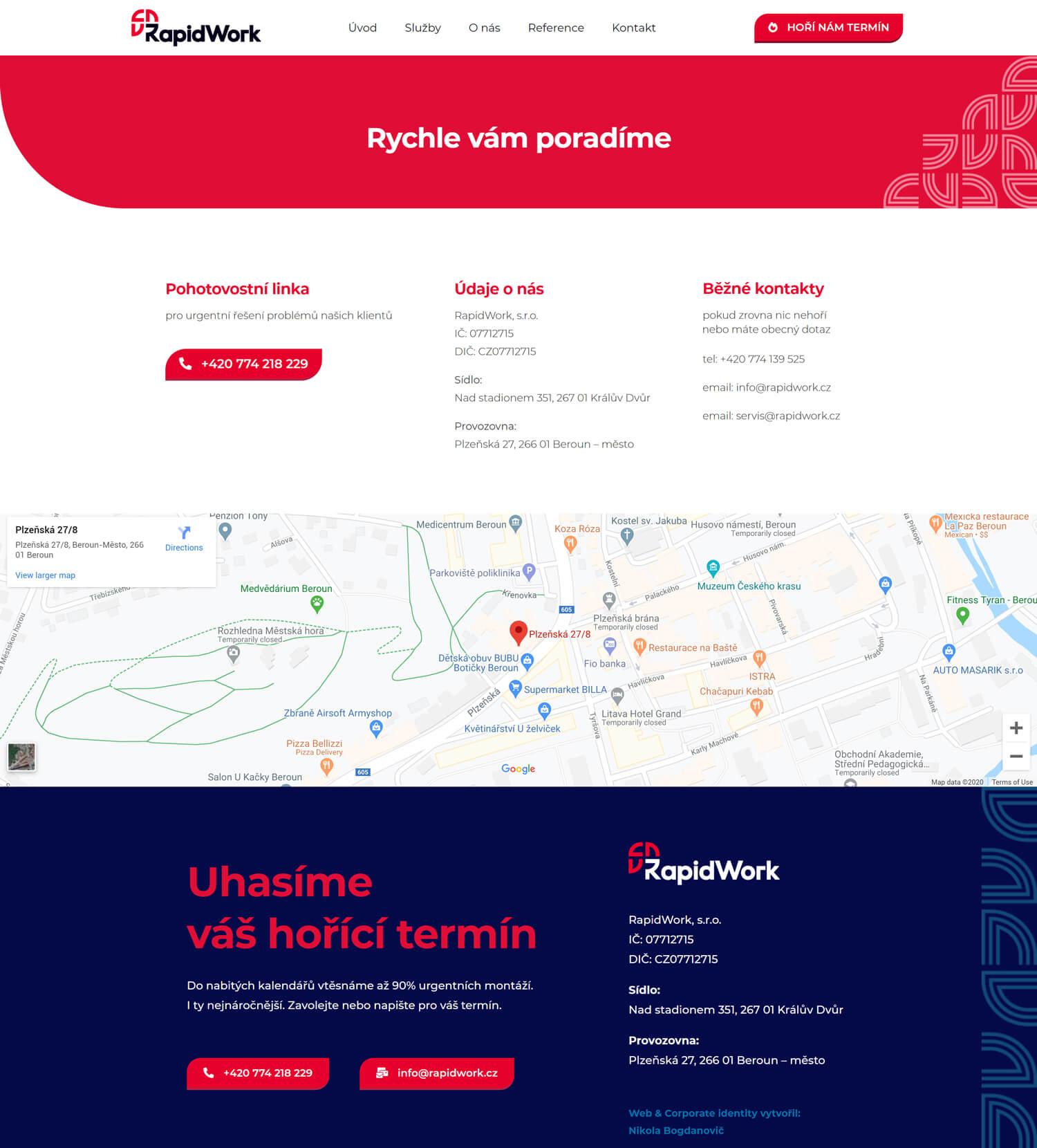 RapidWork grafický návrh podstránky kontaktů