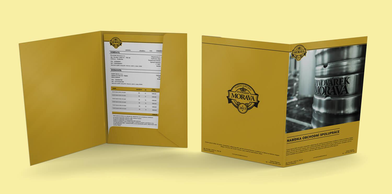 Pivovárek Morava návrh tiskovin, složka A4 s klopou
