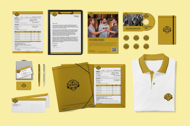 Pivovárek Morava design firemní identity a merkantilních tiskovin