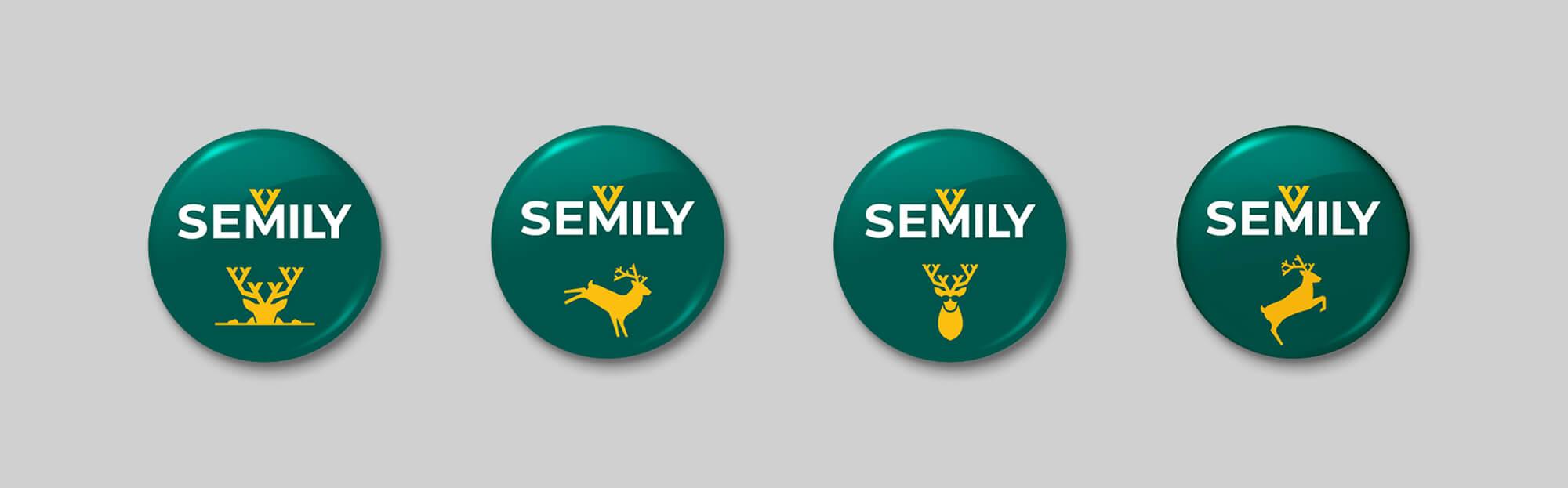Vizuální styl Semily - merchandise placky